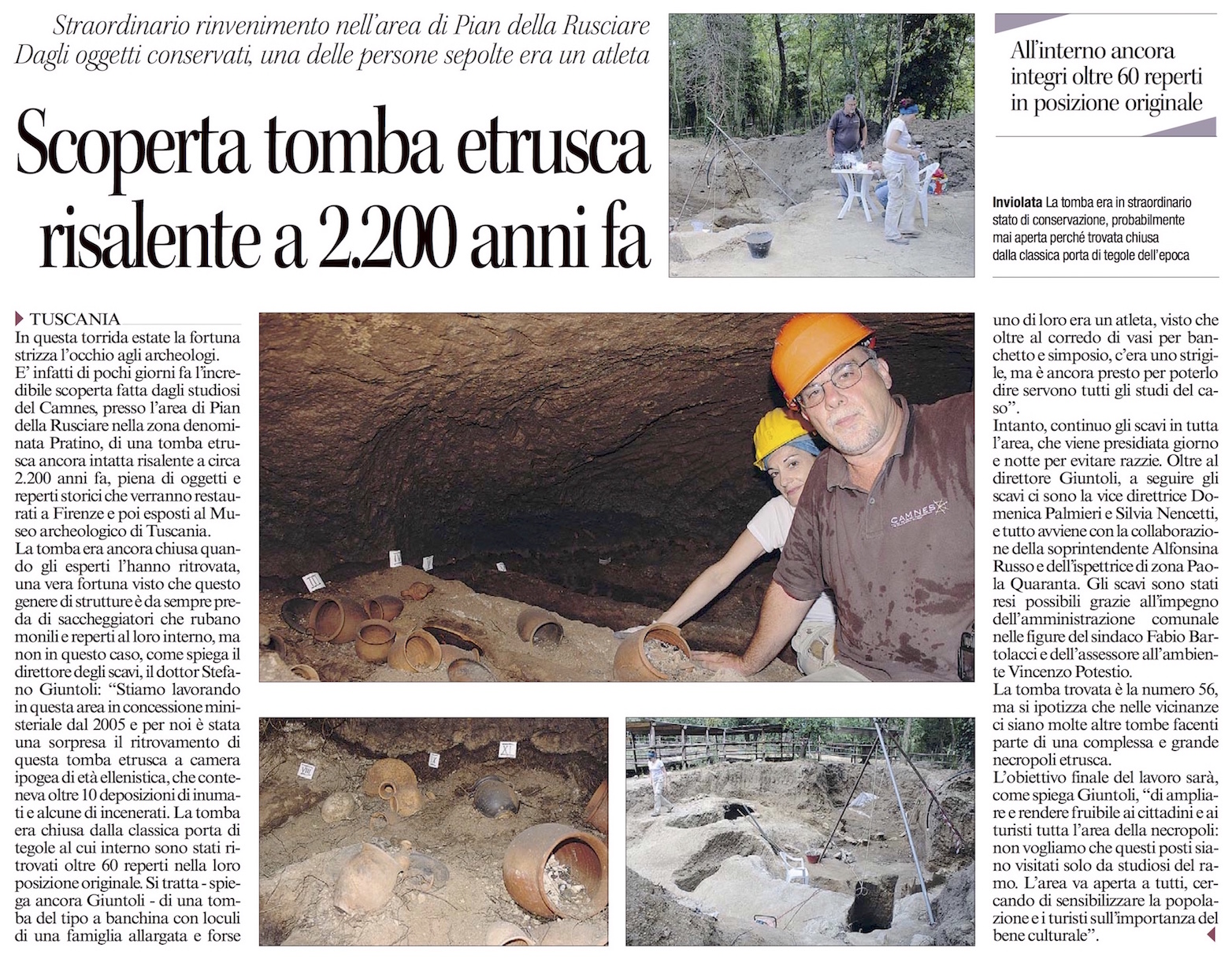 Discovered intact tomb in Tuscania