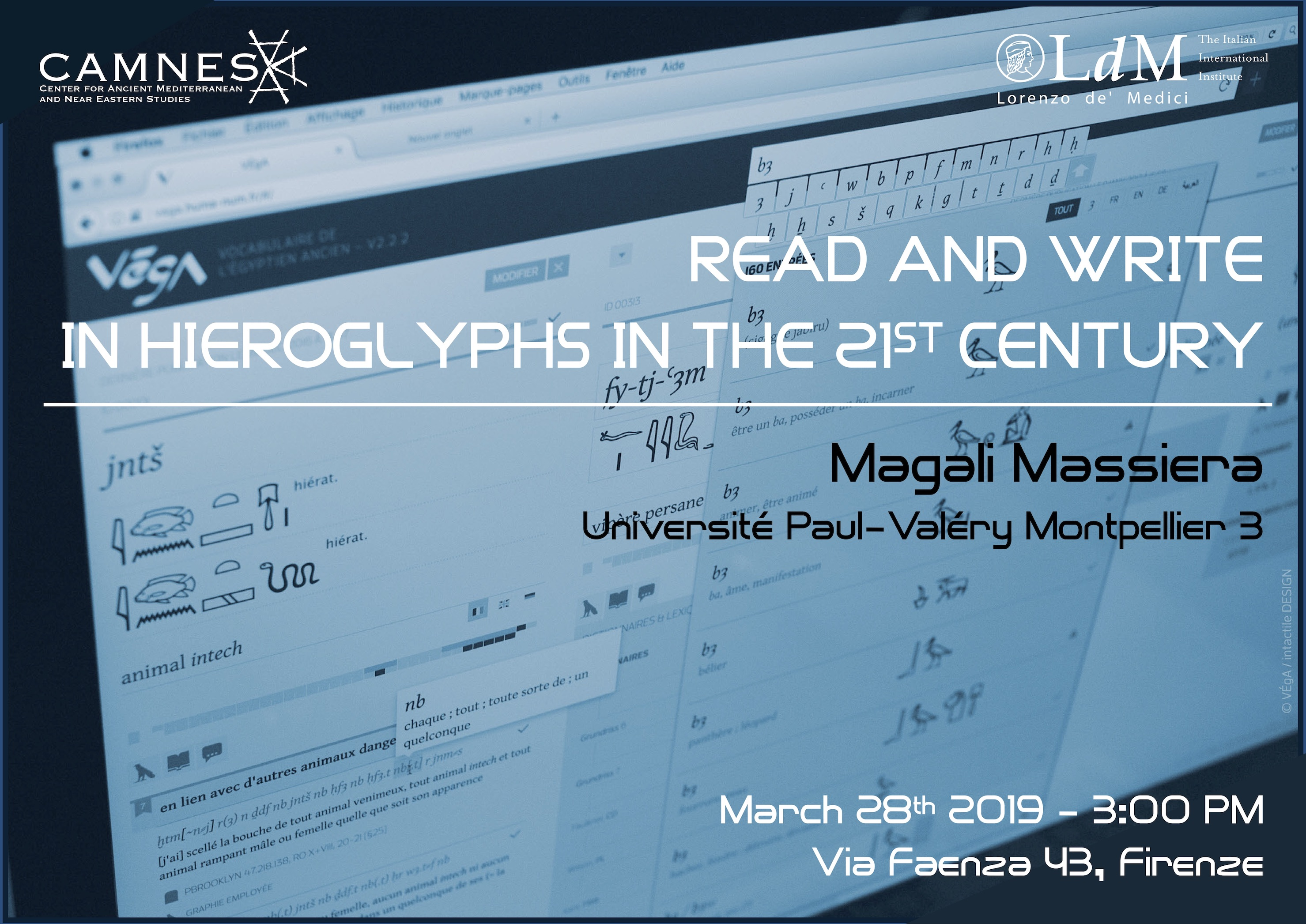LECTURE: Read & write in Hieroglyphs the 21ST Century